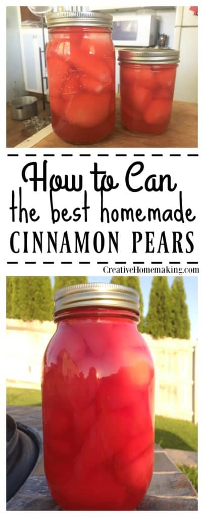 How to can cinnamon pears. Adding red hots to canned pears gives fresh pears a nice cinnamon twist.