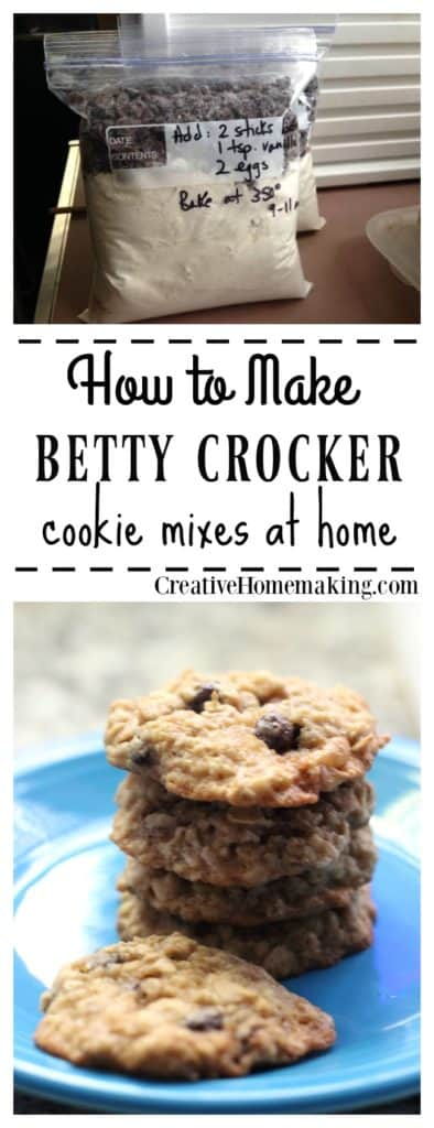 Easy convenient homemade cookie mixes just like Betty Crocker cookie mixes.