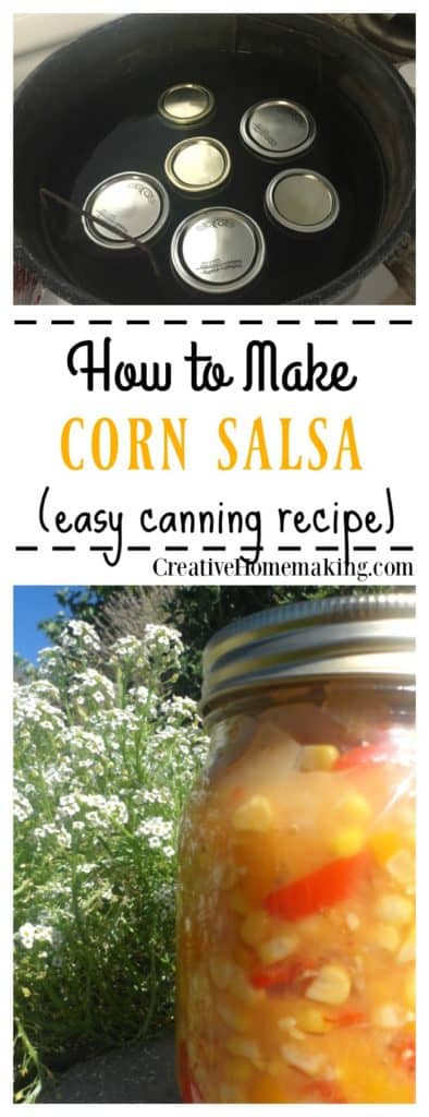 Canning corn salsa. How to make homemade corn salsa with fresh corn on the cob, tomatoes, and onions. Easy recipe for beginning canners.