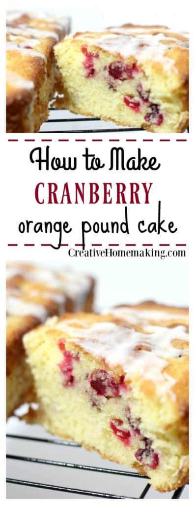 This cranberry orange pound cake is easy to make and fancy enough to give away as gifts during the holidays.
