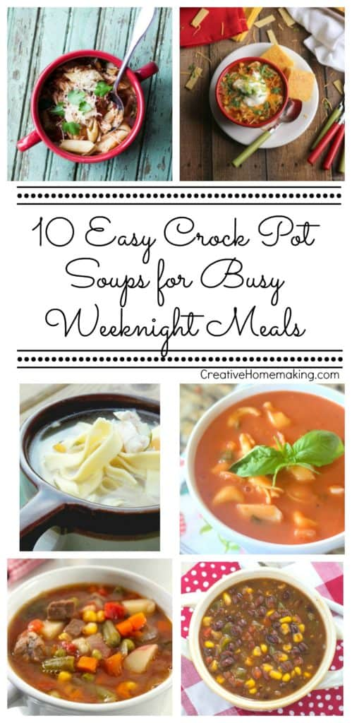 Busy weeknights got you scrambling for dinner? Try one of these 10 easy crock pot soups, perfect for busy weeknight meals.