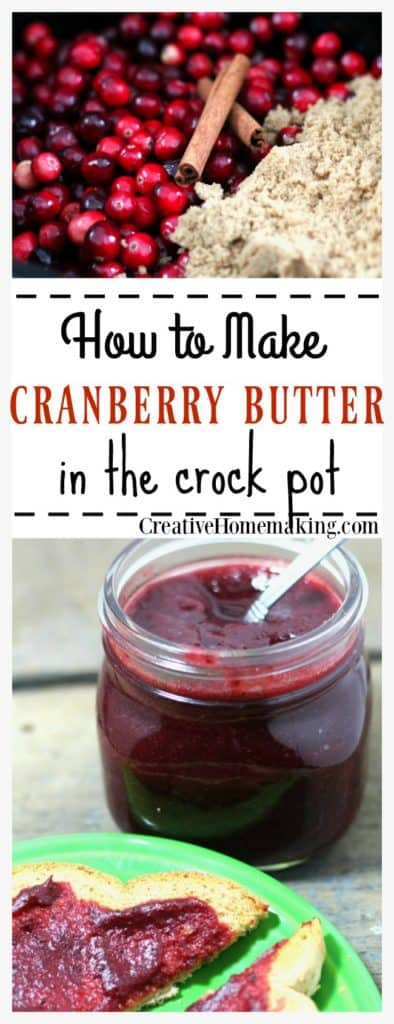 This crock pot cranberry butter made from fresh cranberries is a delicious holiday treat and a great gift for friends or family.