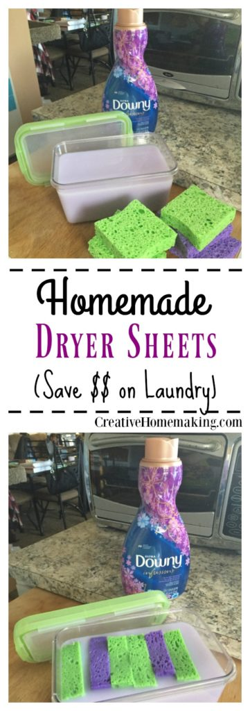 Tip for making your favorite fabric softener last longer by making your own dryer sheets.
