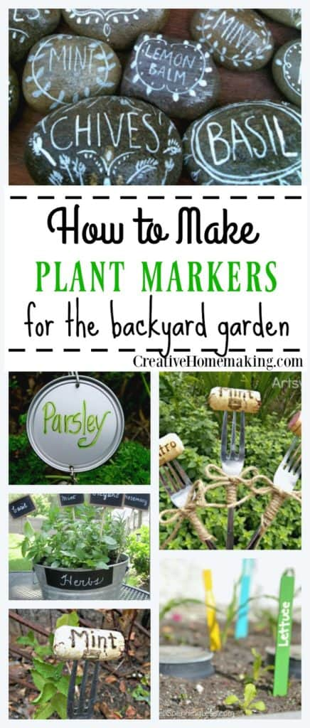 Creative ideas for making homemade plant markers for your backyard garden.