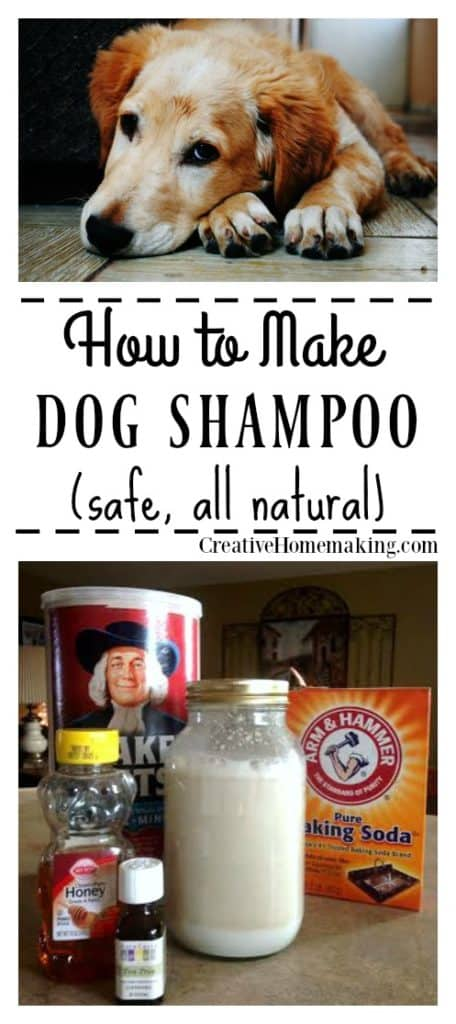 Easy all-natural dog shampoo that will leave your pet clean and smelling fresh and only costs pennies to make.