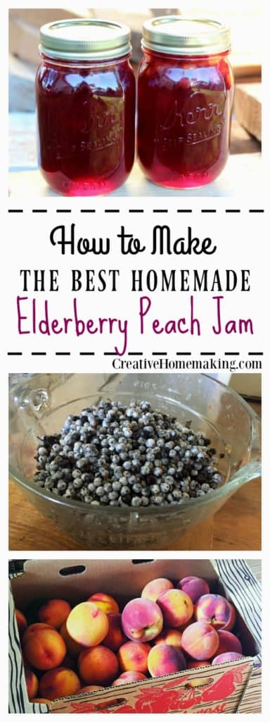 Canning elderberry peach jam. Elderberries and peaches are the perfect combination for a delicious summer jam. Step by step canning recipe for beginning canners.