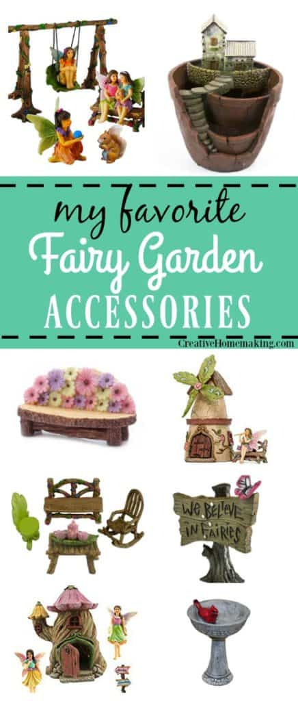 Favorite fairy garden accessories for fairy gardens: fairy houses, fairy furniture, and more.