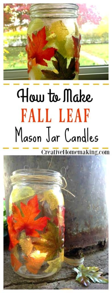 These fall leaf mason jar candle holders are a beautiful addition to your fall or Thanksgiving table.