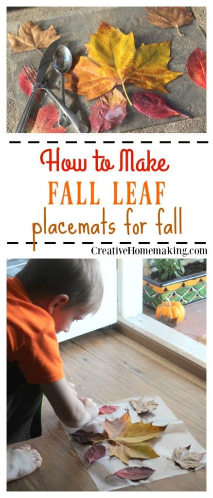 Placemats made from fall leaves are a fun Thanksgiving craft activity for kids of all ages.