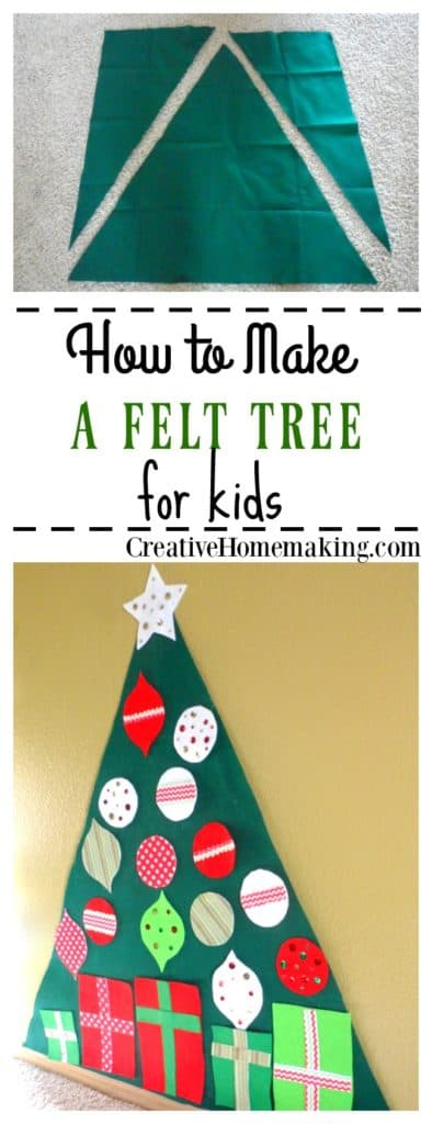 Easy Christmas tree for kids. This felt Christmas tree is so easy to make. Kids will love decorating it over and over again.