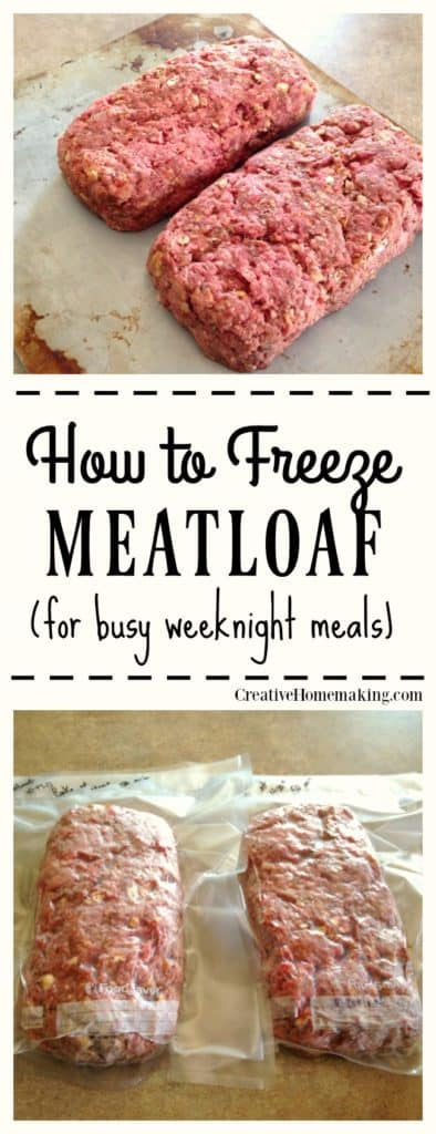 Easy recipe for making and freezing homemade meatloaf, one for tonight and two for later.