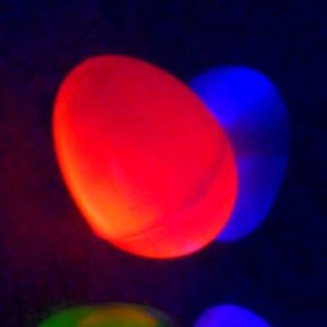 Fun idea for having an Easter egg hunt in the dark with glow in the dark Easter eggs.