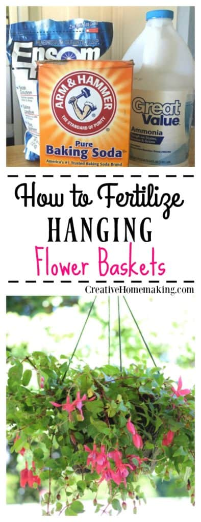 Easy DIY tips for making homemade plant food to fertilize your hanging flower baskets and keep them blooming all summer long.