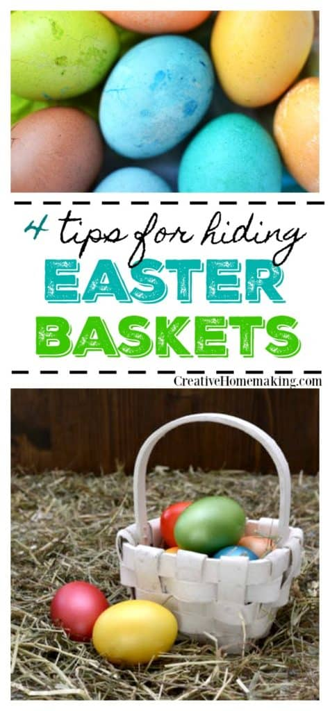 Four fun ideas for hiding your child's Easter Basket for an Easter egg hunt on Easter morning.