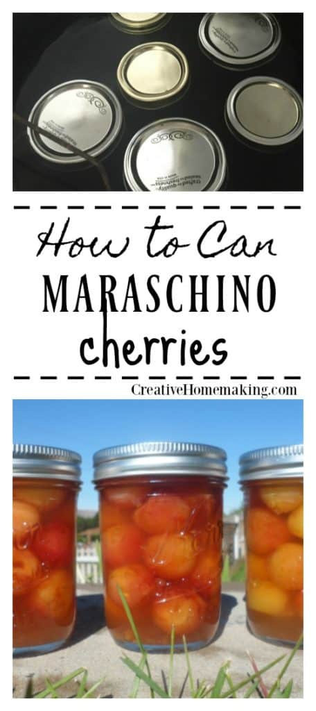 Canning maraschino cherries. Recipe for making and canning homemade maraschino cherries with cherry liquor. Great hostess or holiday gift!