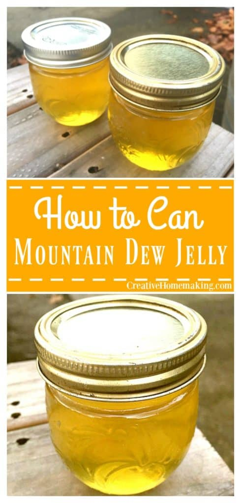 Mountain Dew jelly is a fun novelty jelly to give away for gifts to friends during the holidays.