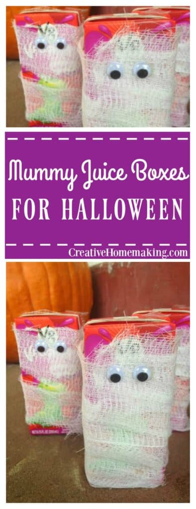 These mummy juice boxes are a fun easy treat to make for your kids for Halloween.
