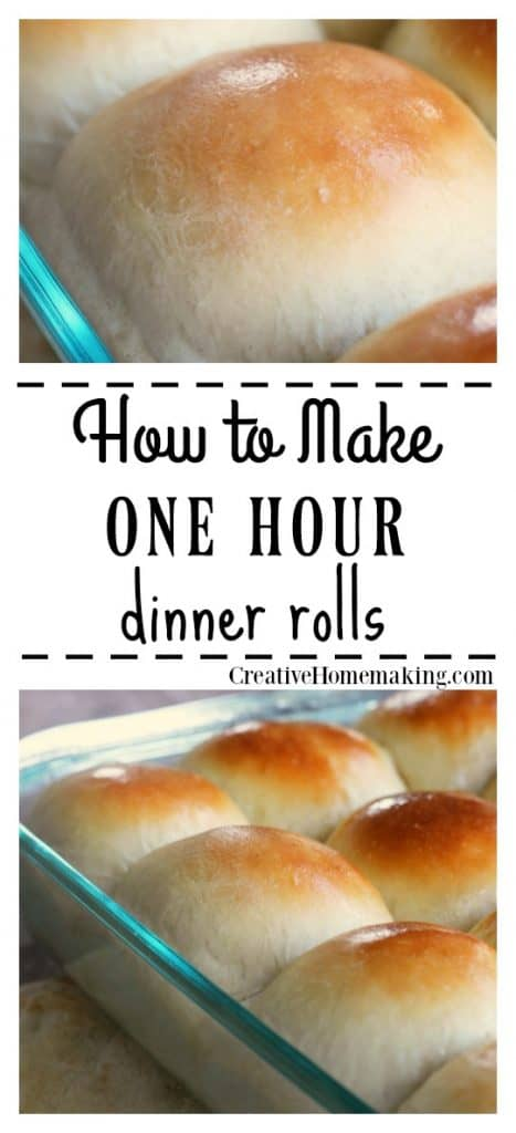 Easy recipe for one hour dinner rolls. One of my favorite quick and easy baking recipes!