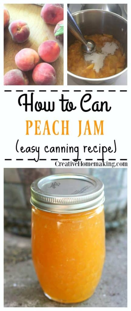 Canning peach jam. How to make and can homemade peach jam with either liquid pectin or powdered pectin. Easy canning recipe.