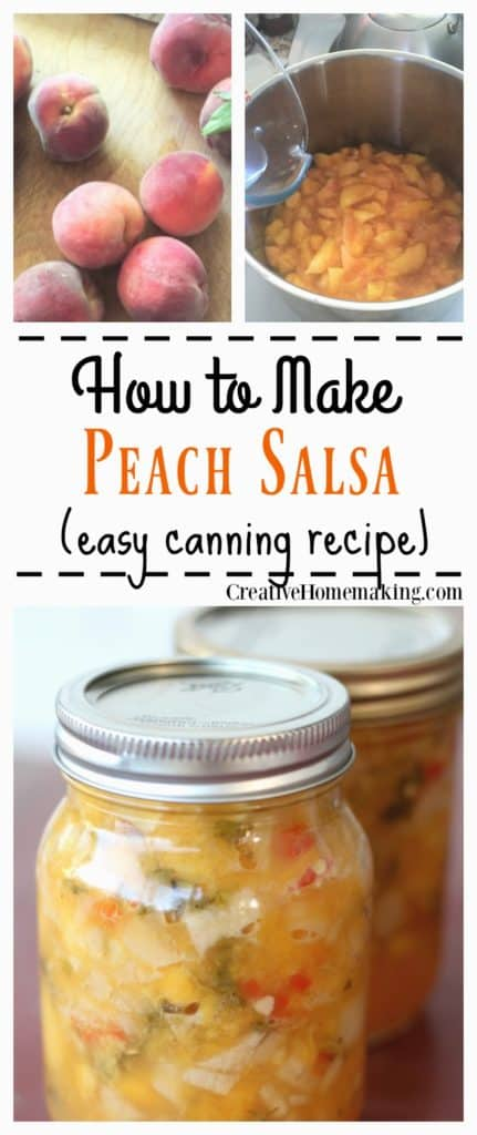 Easy recipe for making and canning homemade peach salsa.