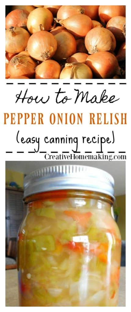 Canning pepper onion relish. This pepper onion relish is made from a combination of green and red bell peppers and onions. It is slightly sweet and would taste great on a sausage or hot dog.
