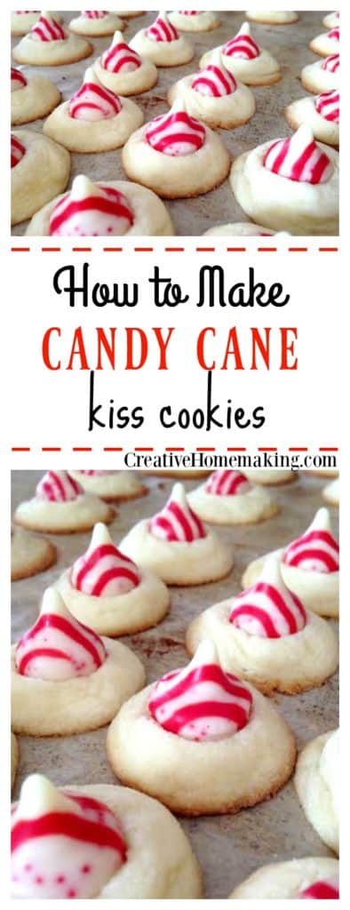 These peppermint candy kiss cookies are a fun holiday variation of Hershey's chocolate kiss cookies.