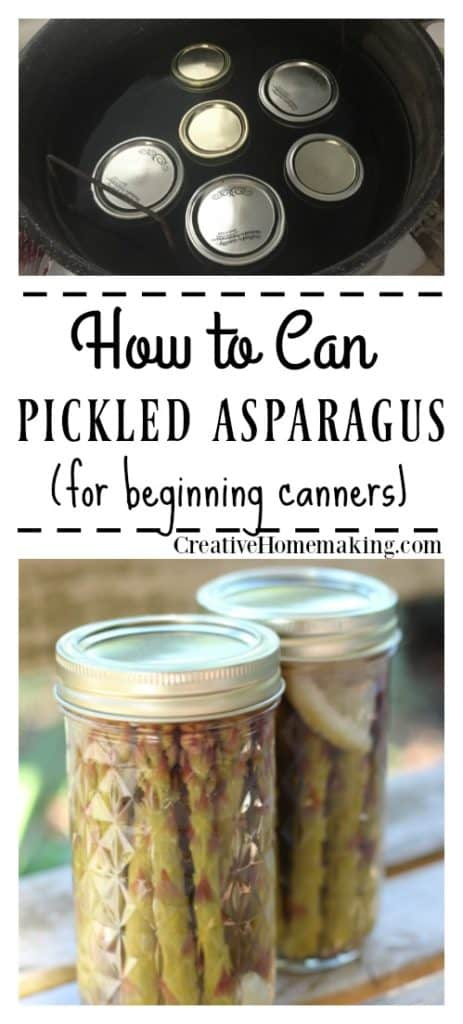 Canning pickled asparagus. Step-by-step beginning instructions for canning perfect pickled asparagus. No pressure canner needed!