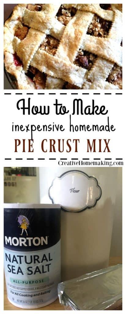 Easy, inexpensive recipe for homemade pie crust mix.