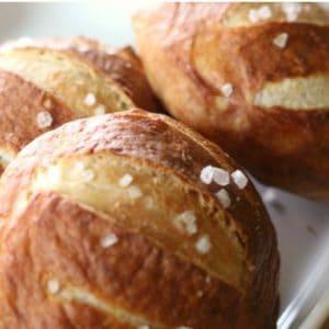 Easy recipe for homemade pretzel rolls.