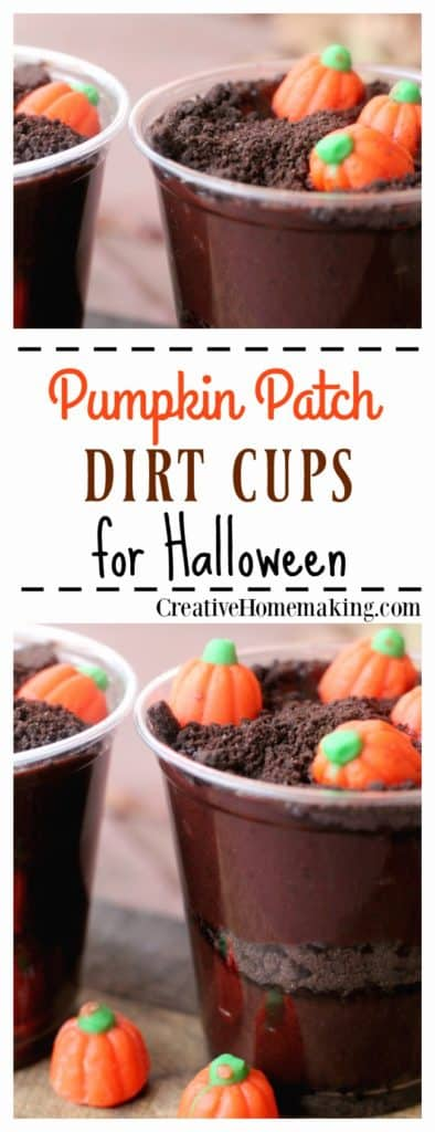 These easy pumpkin patch dirt cups are a fun fall or Halloween treat for children's parties.