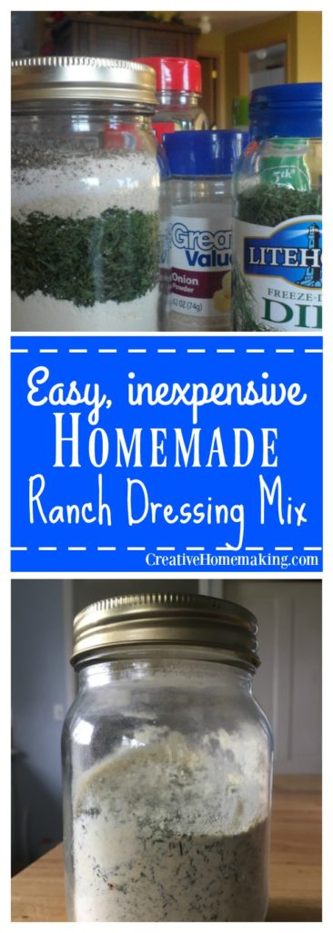 Easy dry Hidden Valley Ranch ranch dressing mix copycat recipe for dressing, dips, chicken, ground beef, veggies, and more.