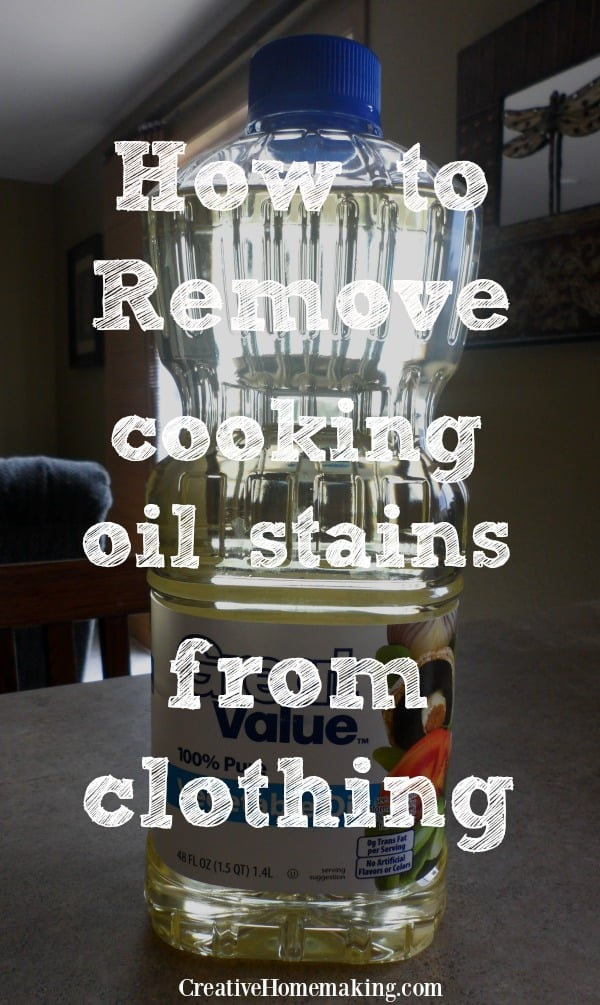Cleaning tips for removing cooking oil stains from clothes.