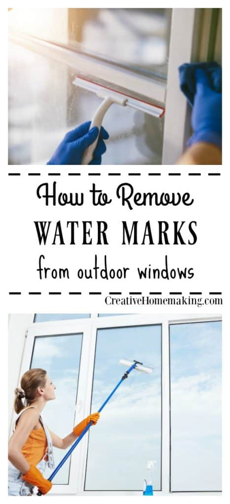 Expert cleaning tips for removing water marks or hard water stains from outdoor windows.