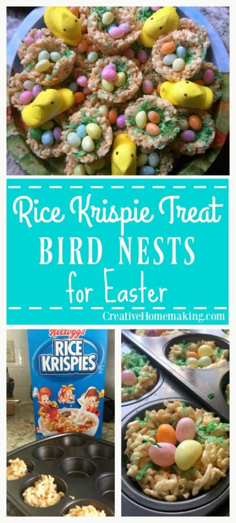 These Rice Krispie treat bird nests are a fun and easy treat to make for kids for Easter.