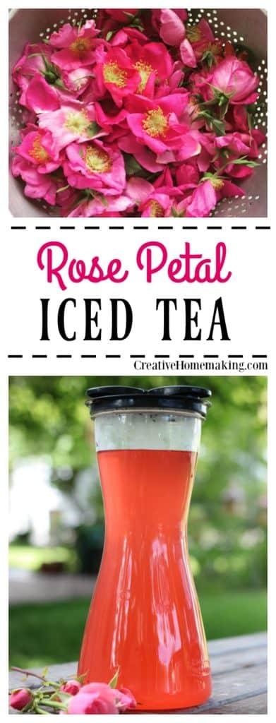How to make wonderfully refreshing homemade rose petal iced tea from fresh wild rose petals.