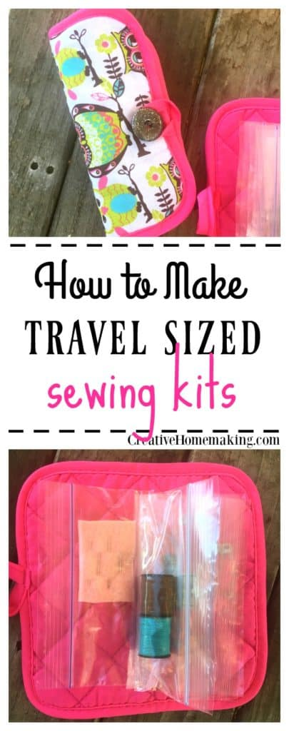 How to make easy DIY travel sized sewing kits from pot holders.