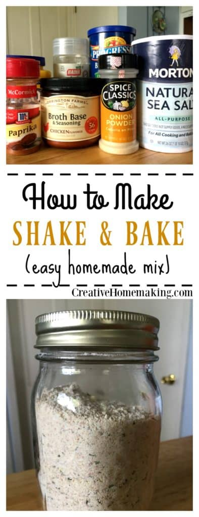 Recipe for making an easy, inexpensive shake and bake mix for chicken or pork.