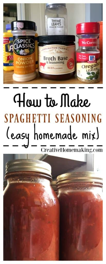 Recipe for making an easy, inexpensive homemade spaghetti sauce seasoning mix.
