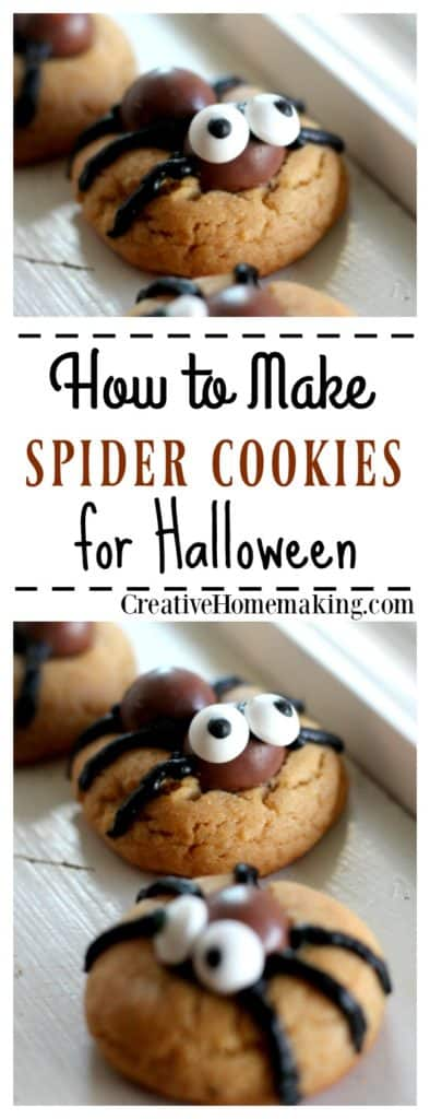 These spider cookies are a fun treat for kids for Halloween. Let your kids help decorate them!