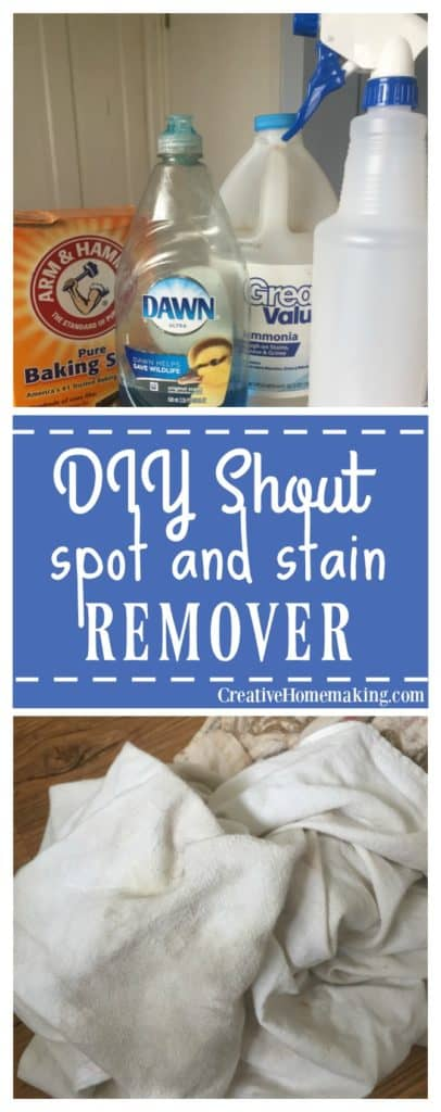 This DIY version of Shout stain remover works just as good as the name brand, and is very easy and inexpensive to make with items you probably already have on hand.