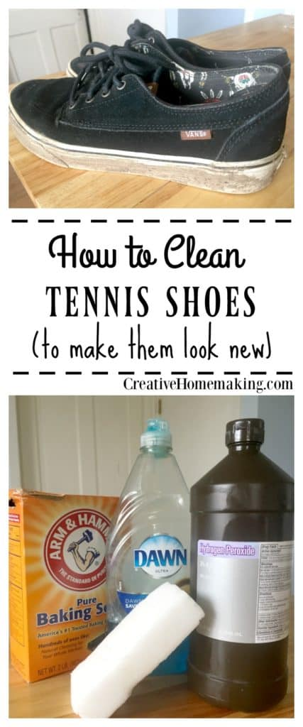 Wash your tennis shoes and give them new life with a little scrubbing and this simple homemade cleaning solution.