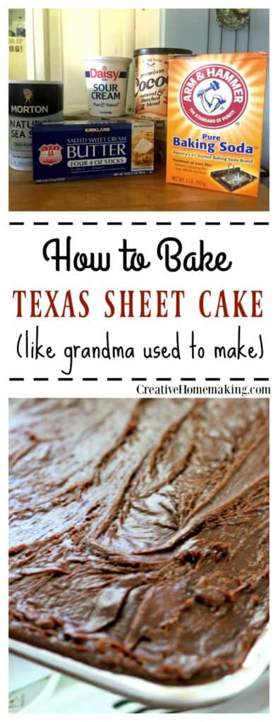 Easy recipe for baking homemade Texas Sheet Cake, just like grandma used to make.