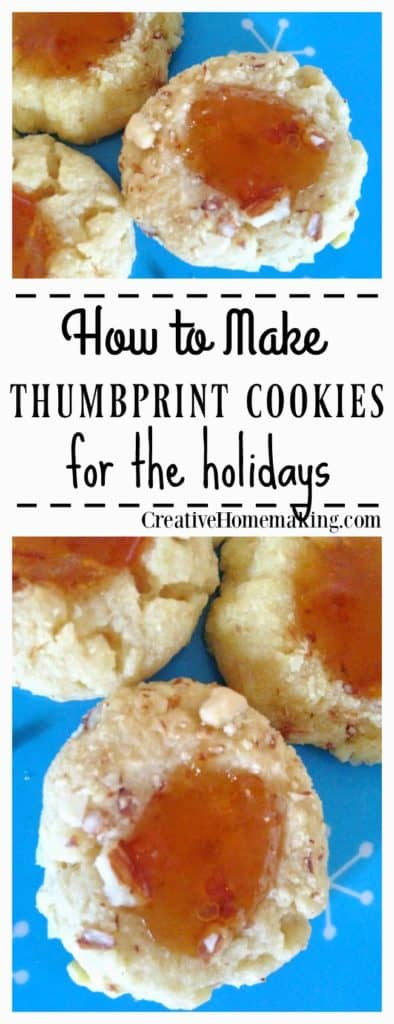 These thumbprint cookies are easy to make and a great way to show off some of your homemade jam (although store bought jam is okay too!).