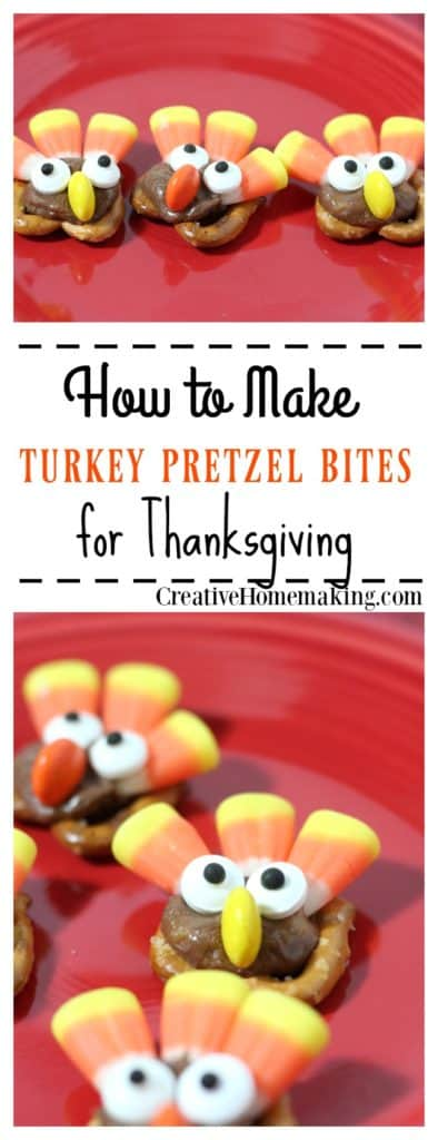 These turkey pretzel bites are a fun treat to make for kids for Thanksgiving or other fall celebrations.