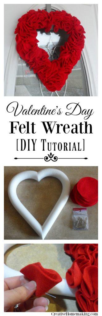 Easy DIY felt wreath to make for Valentine's Day.