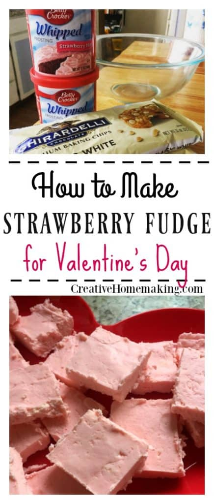 This easy Valentine's Day strawberry fudge only takes a few minutes to make and is made from only two ingredients!