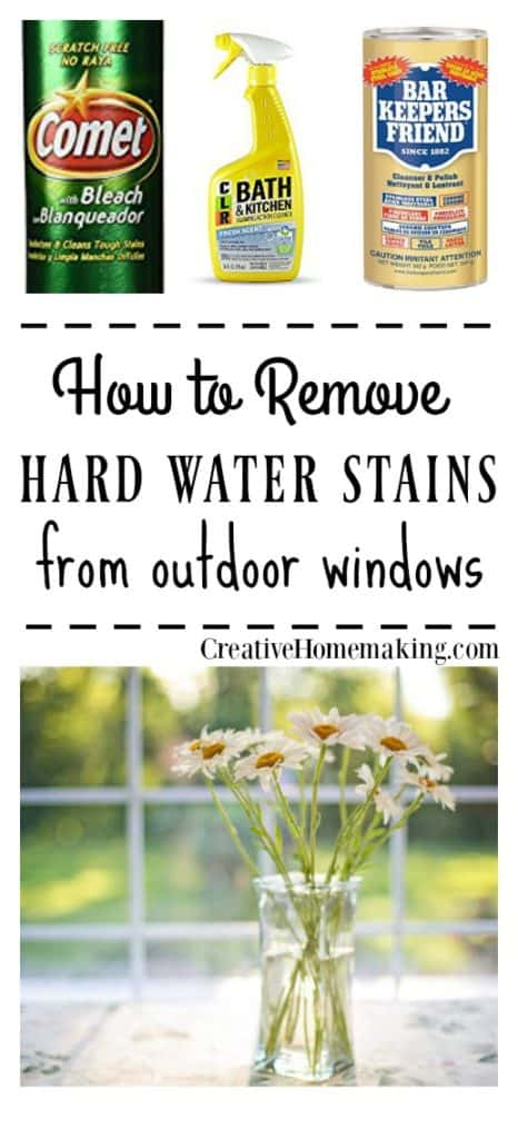 Cleaning tips for removing water marks and hard water stains from outside windows.