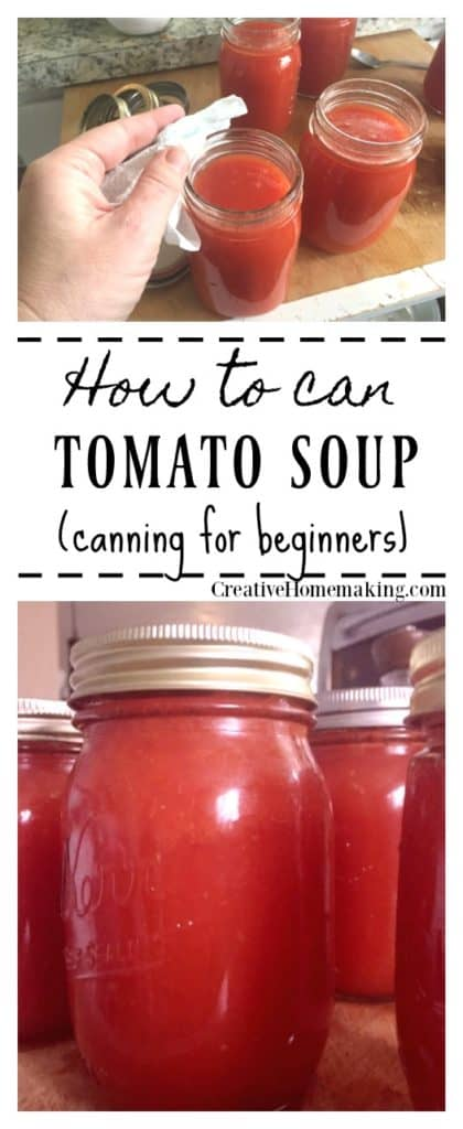Easy recipe for canning tomato soup, just like Campbell's condensed cream of tomato soup!
