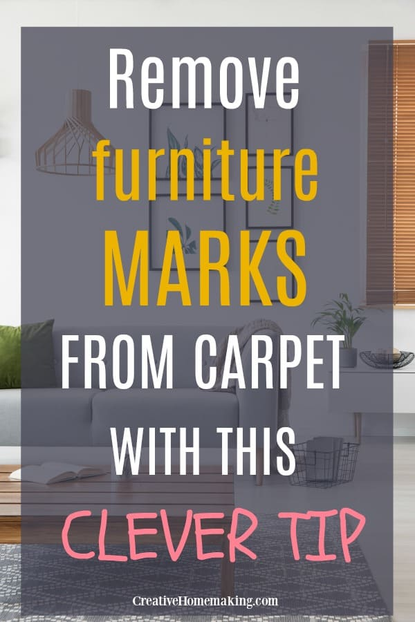 Completely remove furniture marks from carpet with this easy tip! One of my favorite carpet cleaning hacks.