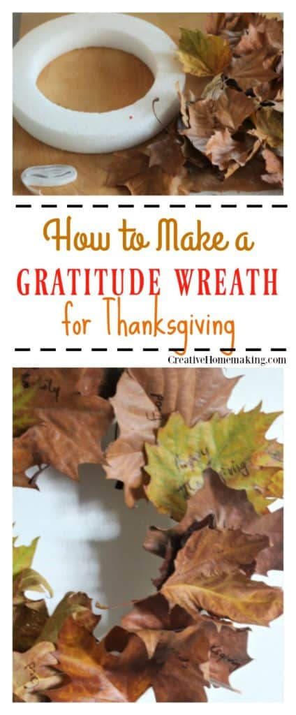 is gratitude wreath is a easy family craft for Thanksgiving.